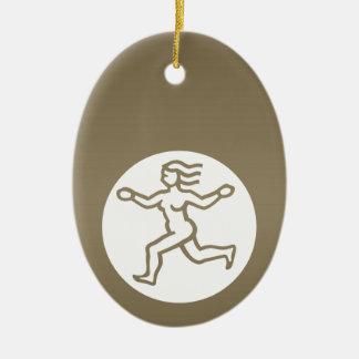 VIRGO - símbolo do ZODÍACO Ornamento De Cerâmica Oval