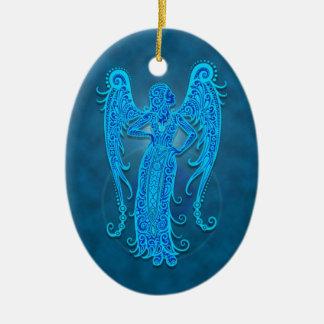 Virgo tribal azul intrincado ornamento para arvores de natal