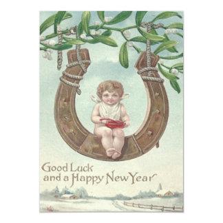 Visco em ferradura do balanço do ano novo do bebê convite 12.7 x 17.78cm