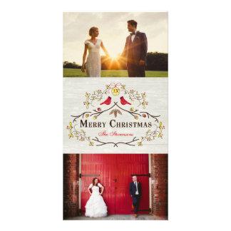 Visco rústico do Natal & foto vermelha dos Cartão Com Foto