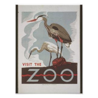 Visita do vintage o jardim zoológico impressão de foto