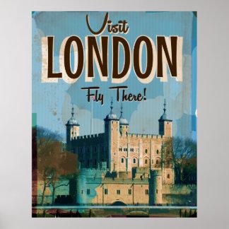 Visita Londres do vintage - mosca lá Pôster