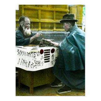 Visitando o caixa de fortuna Japão velho da borda Cartão Postal