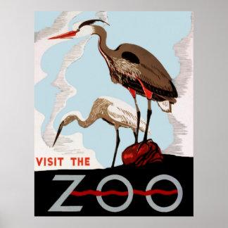 Visite o poster vintage de WPA do jardim zoológico
