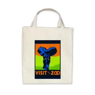 Visite o vetor do vintage do jardim zoológico bolsas para compras