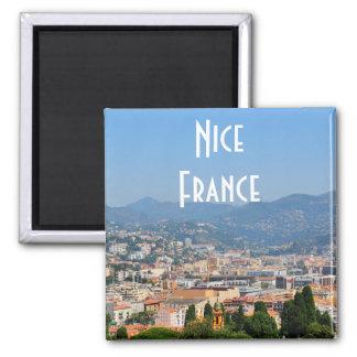 Vista aérea da cidade de agradável em France Ímã Quadrado