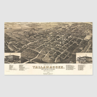 Vista aérea de Tallahassee, Florida (1885) Adesivo Retangular