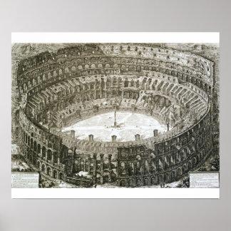 Vista aérea do Colosseum em Roma 'das vistas o Poster