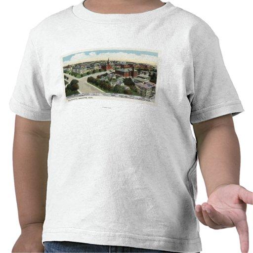 Vista aérea do hospital da cidade t-shirt