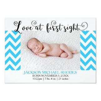 Vista azul do amor @1st de Chevron - anúncio do Convite 12.7 X 17.78cm