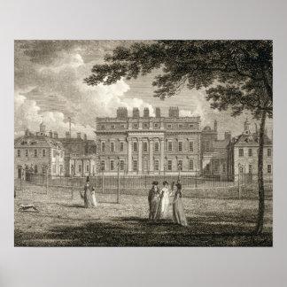 Vista da casa de Buckingham, gravada por W. Cavale Posteres