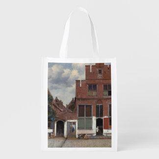 Vista das casas em Delft por Johannes Vermeer Sacola Reusável