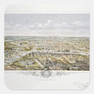 Vista de Paris do Bois de Boulogne Adesivo Quadrado