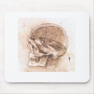Vista de um crânio Leonardo da Vinci Mouse Pad