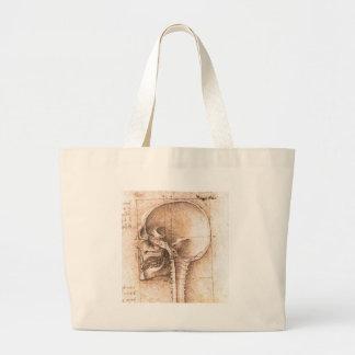 Vista de um crânio por Leonardo da Vinci C 1489 Bolsas