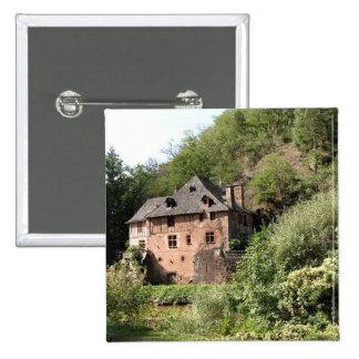 Vista de uma casa senhorial (foto) bóton quadrado 5.08cm
