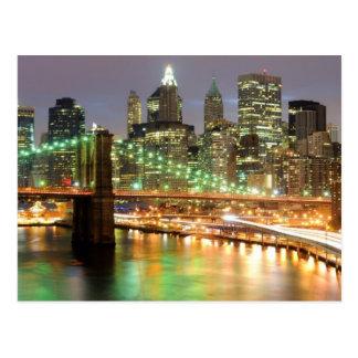 Vista do Lower Manhattan e da ponte de Brooklyn Cartão Postal