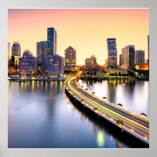 Vista do mandarino Miami oriental com reflexão Impressão
