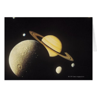 vista dos planetas no sistema solar cartão