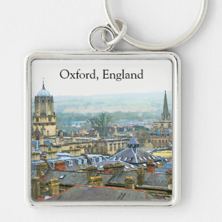 Vista fantástica, Oxford, Inglaterra, telhado #1 Chaveiro Quadrado Na Cor Prata