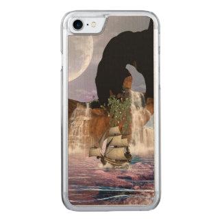 Vista impressionante sobre o oceano com navio, capa iPhone 8/ 7 carved