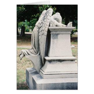 Vista lateral do cartão Weeping do anjo