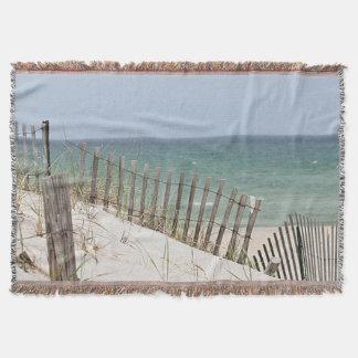 Vista para o mar através da cerca da praia coberta