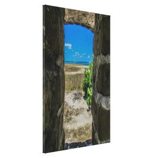 Vista para o mar das canvas da janela do ar livre
