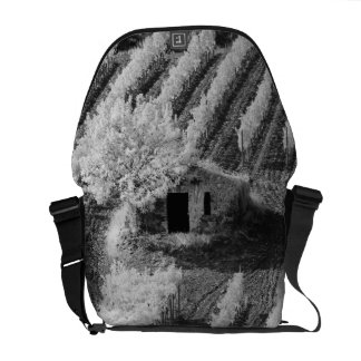 Vista preta & branca do celeiro de pedra pequeno bolsa mensageiro