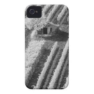 Vista preta & branca do celeiro de pedra pequeno capa para iPhone