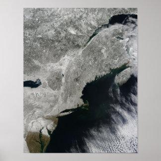 Vista satélite da neve pôster