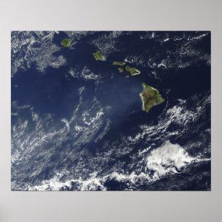 Vista satélite da névoa vulcânica impressão