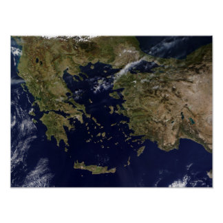 Vista satélite da piscina e da Turquia Pôster