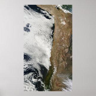 Vista satélite das montanhas de Andes Pôster