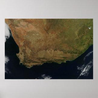 Vista satélite de África do Sul Pôsteres