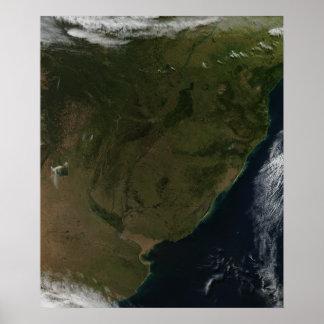 Vista satélite de Ámérica do Sul Pôsteres