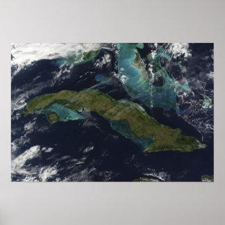 Vista satélite de Cuba Pôsteres