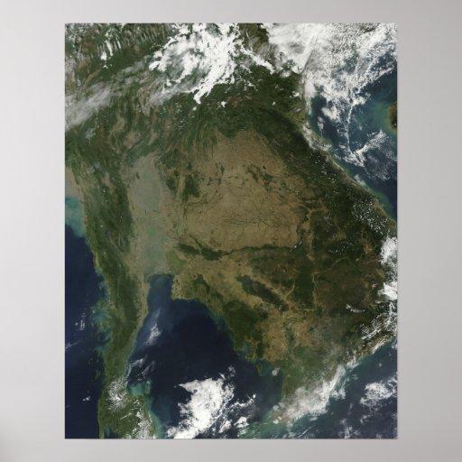 Vista satélite de Indochina Posteres