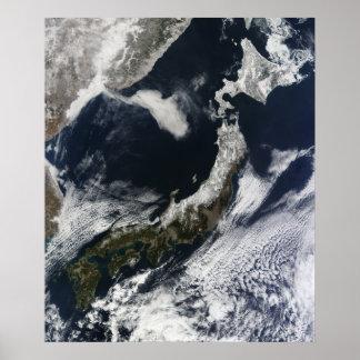 Vista satélite de Japão Poster