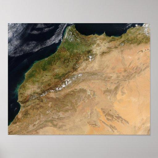 Vista satélite de Marrocos Pôsteres