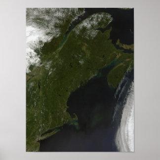Vista satélite de Nova Inglaterra Poster