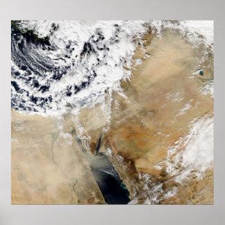 Vista satélite do mediterrâneo oriental impressão