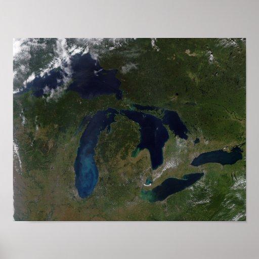 Vista satélite dos grandes lagos impressão