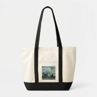 Vista sobre uma paisagem larga com as árvores na bolsas para compras