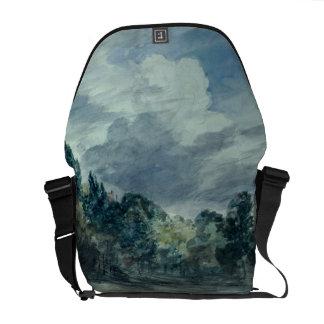 Vista sobre uma paisagem larga, com as árvores na  bolsa mensageiro