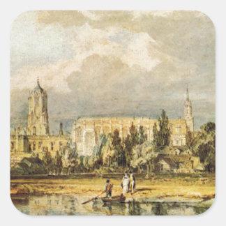 Vista sul da igreja do cristo, dos prados adesivo quadrado