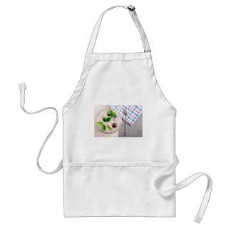 Vista superior de um prato saudável da farinha de avental