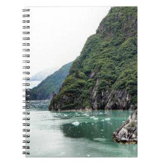 Vistas através de um caderno do fiorde