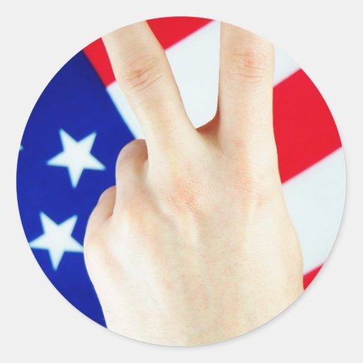 Vitória americana adesivo em formato redondo