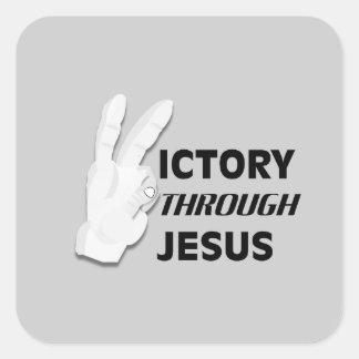 Vitória através das etiquetas de Jesus Adesivo Em Forma Quadrada